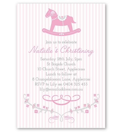 Pink Rocking Horse Christening & Baptism Invitation