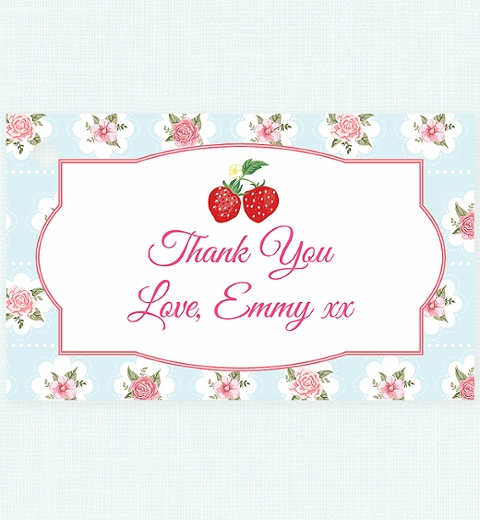 Strawberry Floral Thank-you Tag