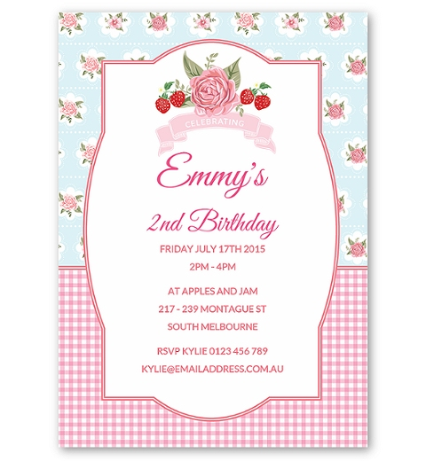 Strawberry Floral Invitation