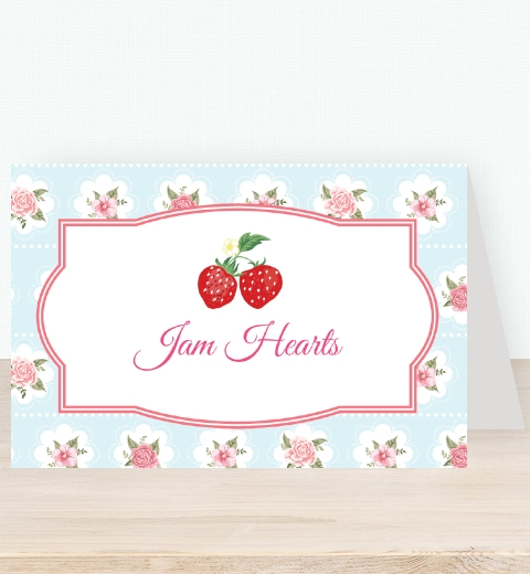Strawberry Floral Tent Card