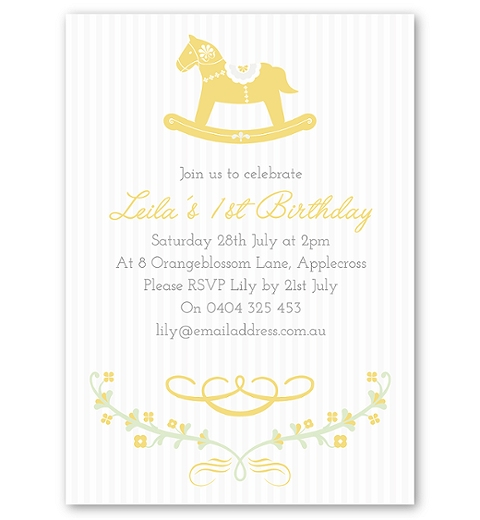 Yellow Rocking Horse Birthday Invitation