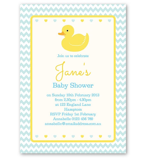Blue Rubber Ducky Baby Shower Invitation