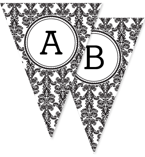 Black & White Damask Bunting Flags