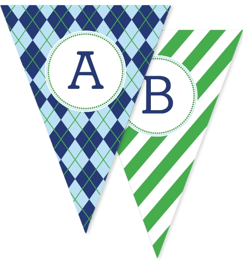 Navy & Green Argyle Bunting Flags