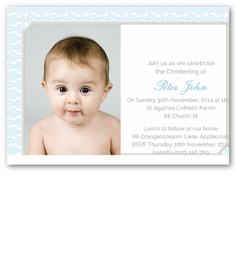 Baby Blue Damask Photo Christening Invitation