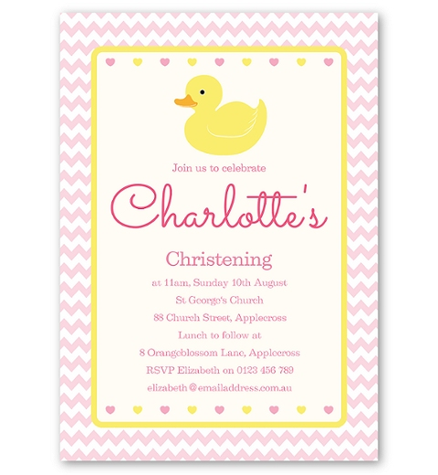 Pink Rubber Ducky Christening & Baptism Invitation