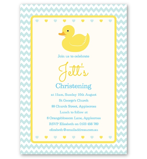Blue Rubber Ducky Christening & Baptism Invitation