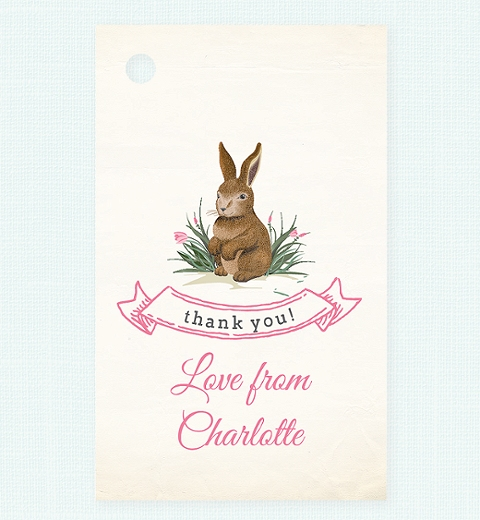 Girls Garden Bunny Theme Thank-you Tag
