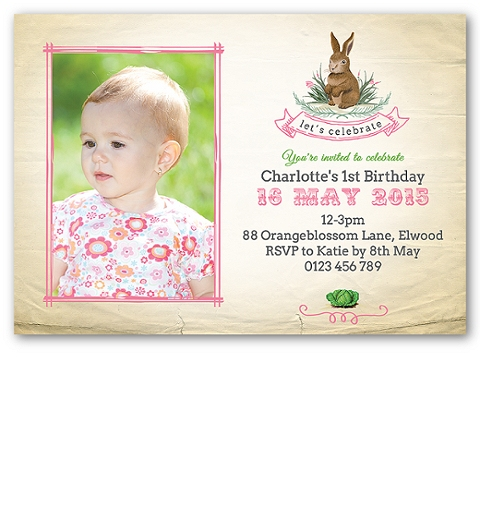 Pink Garden Bunny Invitation