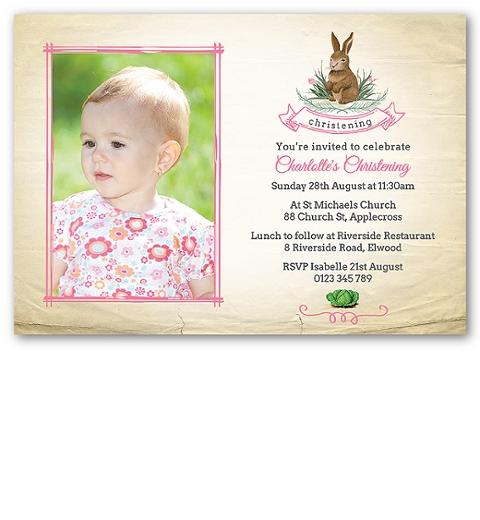 Pink Garden Bunny Christening Invitation
