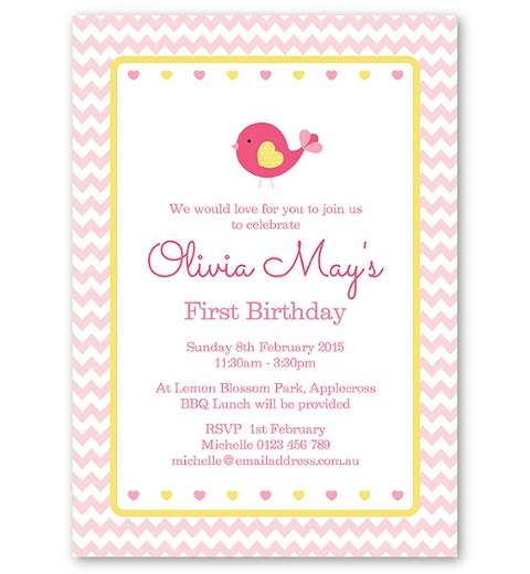 Pink Chevron Birdie Invitation