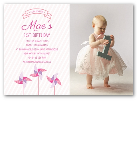 Pink Pinwheel Birthday Invitation