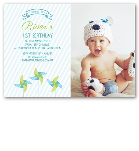 Blue PinwheelBirthday Invitation