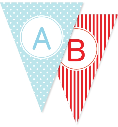 Blue Dots and Red Stripes Bunting
