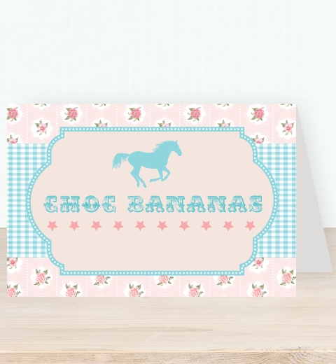 Vintage Pony Party Tent Card