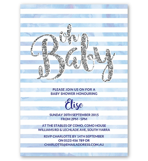 Blue Oh Baby Invitation