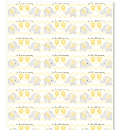 Yellow Elephant Wrapping Paper