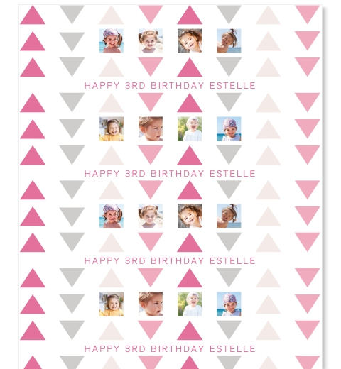 Pink & Grey Triangle Wrapping Paper