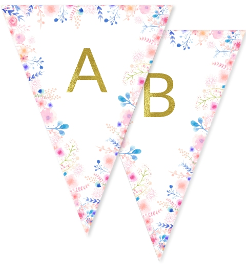 Floral Border Gold Bunting Flags