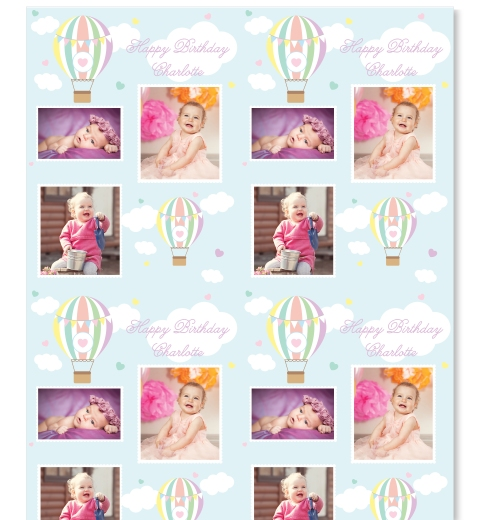Pastel Hot Air Balloon Photo Wrapping Paper
