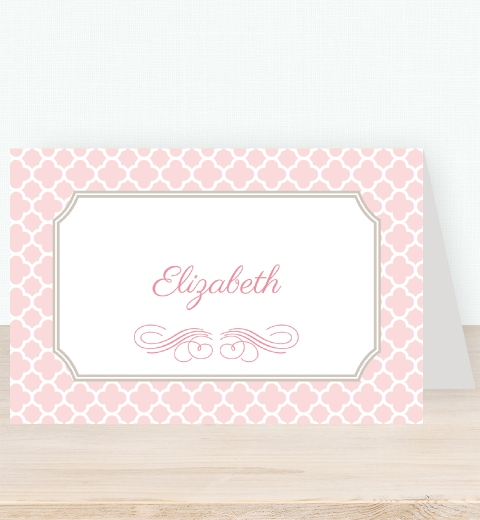 Quatrefoil - Pink Tent Card