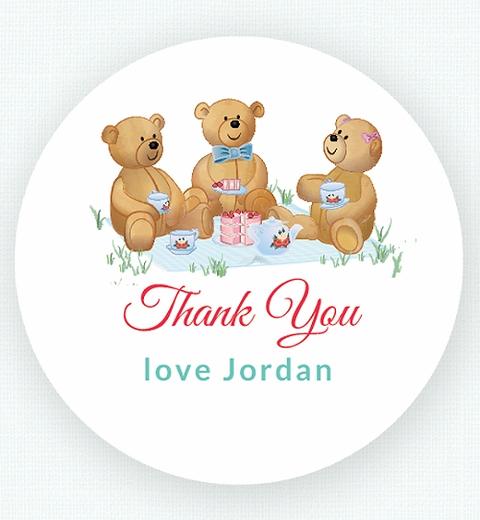 Neutral Teddy Bears Picnic Thank-you Sticker