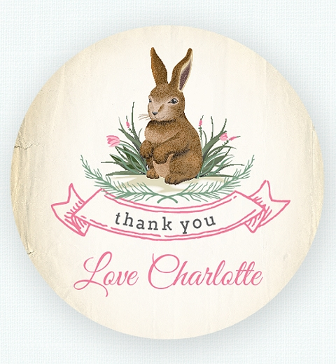 Pink Garden Bunny Thank-you Sticker