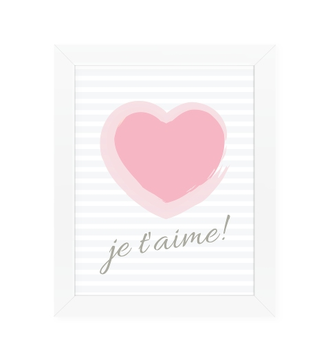 Je t'aime Wall Art ~ Baby Pink & Grey