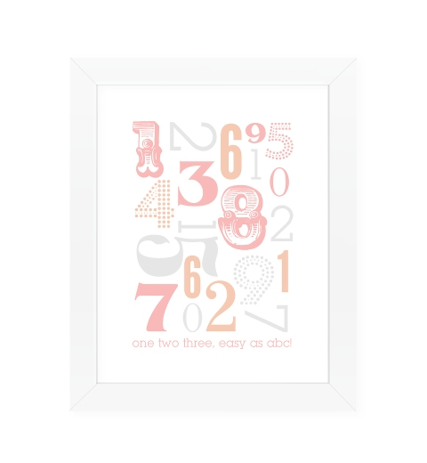 Typographic Number Print ~ Peach & Pink