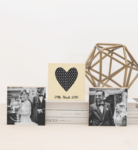 Black & White Heart Photo Blocks