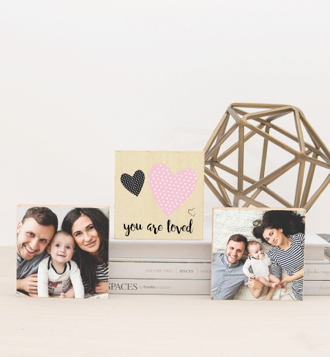 Polka Dot Heart Photo Blocks