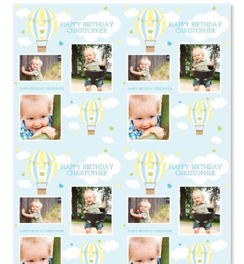 Blue Hot Air Balloon Photo Wrapping Paper
