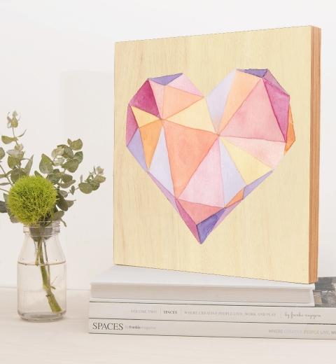Peach & Mauve Geometric Heart by Tori Benz