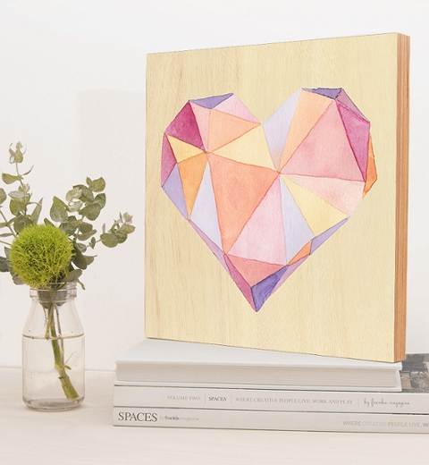 Peach & Mauve Geometric Heart by Tori Benz