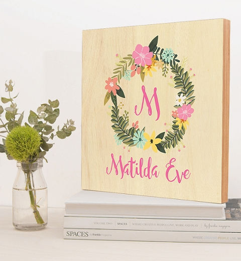 Floral Wreath Birch Block