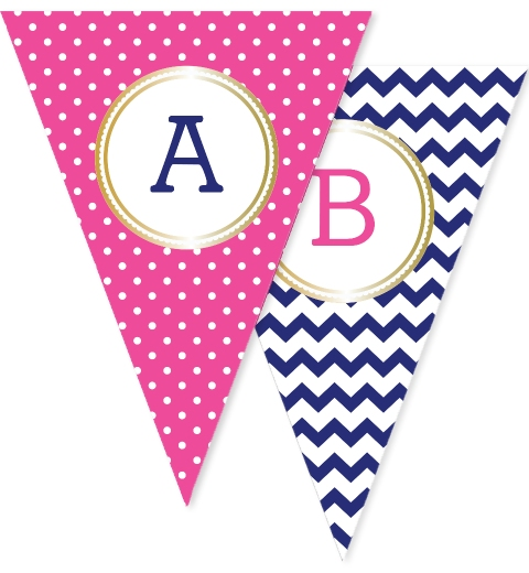 Fuchsia Polka Dot & Navy Chevron Bunting Flags