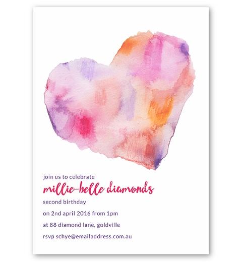 Watercolour Heart Party Invitation