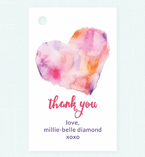 Watercolour Heart Party Thank-you Tag