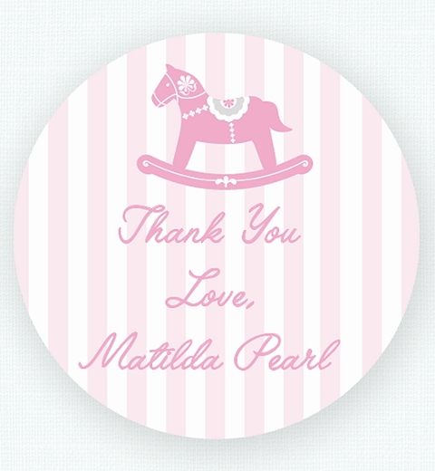 Rocking Horse Pink Thank-you Sticker