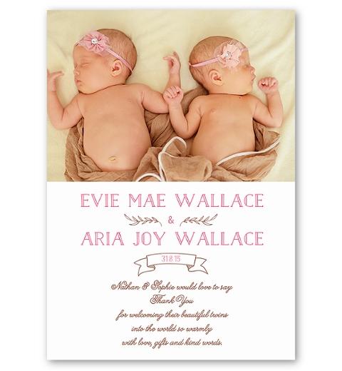 Pink Folksy Twins Birth Announcement