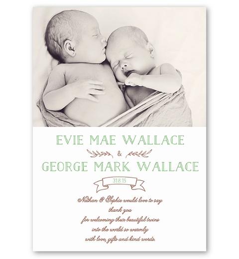 Mint Folksy Twins Birth Announcement