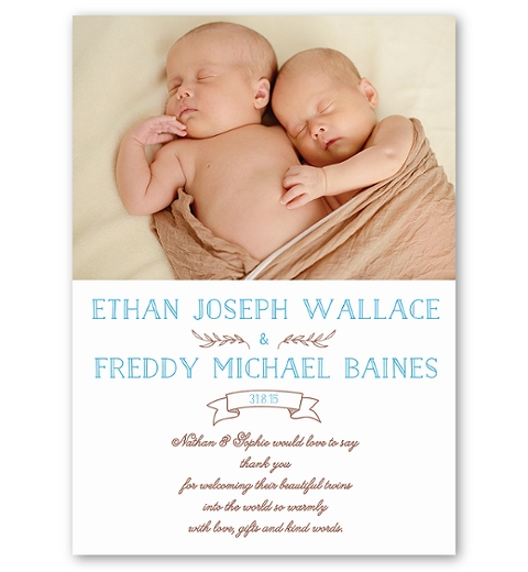 Blue Folksy Twins Birth Announcement