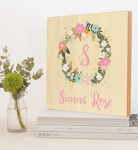 Monogram Pastel Wreath Name Print
