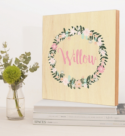 Pastel Floral Wreath Birch Block