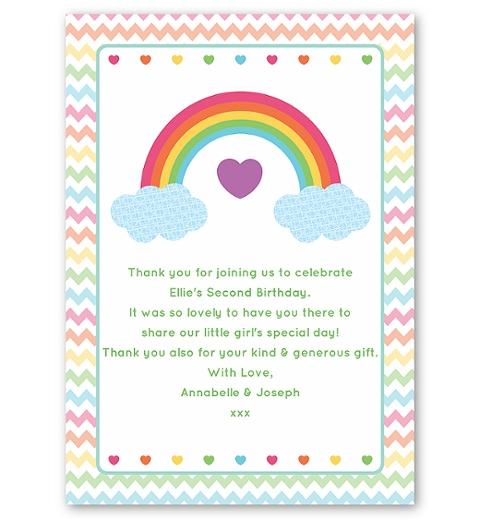 Rainbow Single Sided Thank You Card