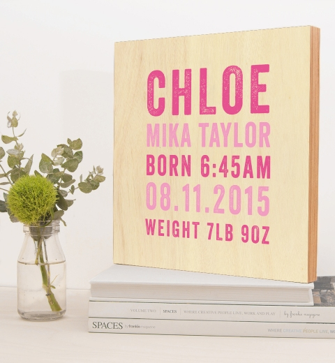 Pink Letterpress Birth Wood Wall Art