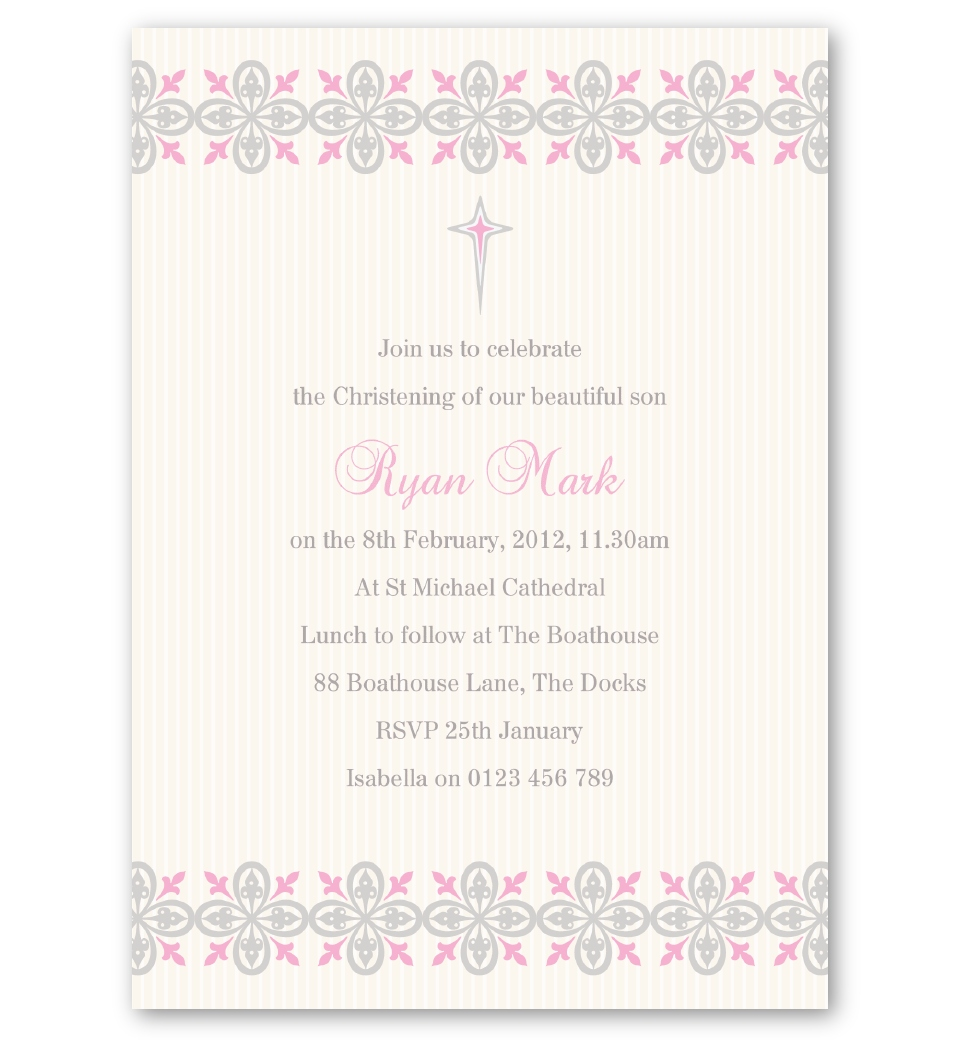 Baptism Ornament Cross Ornament Girl Baptism Ornament Girl: Printer's Ornaments Christening Invitation - Girl