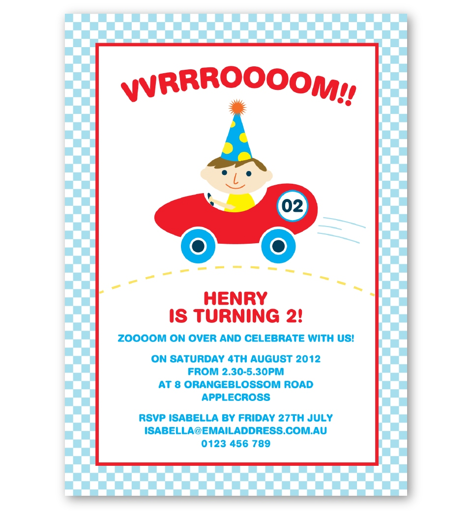 racing car personalised birthday invitations love jk