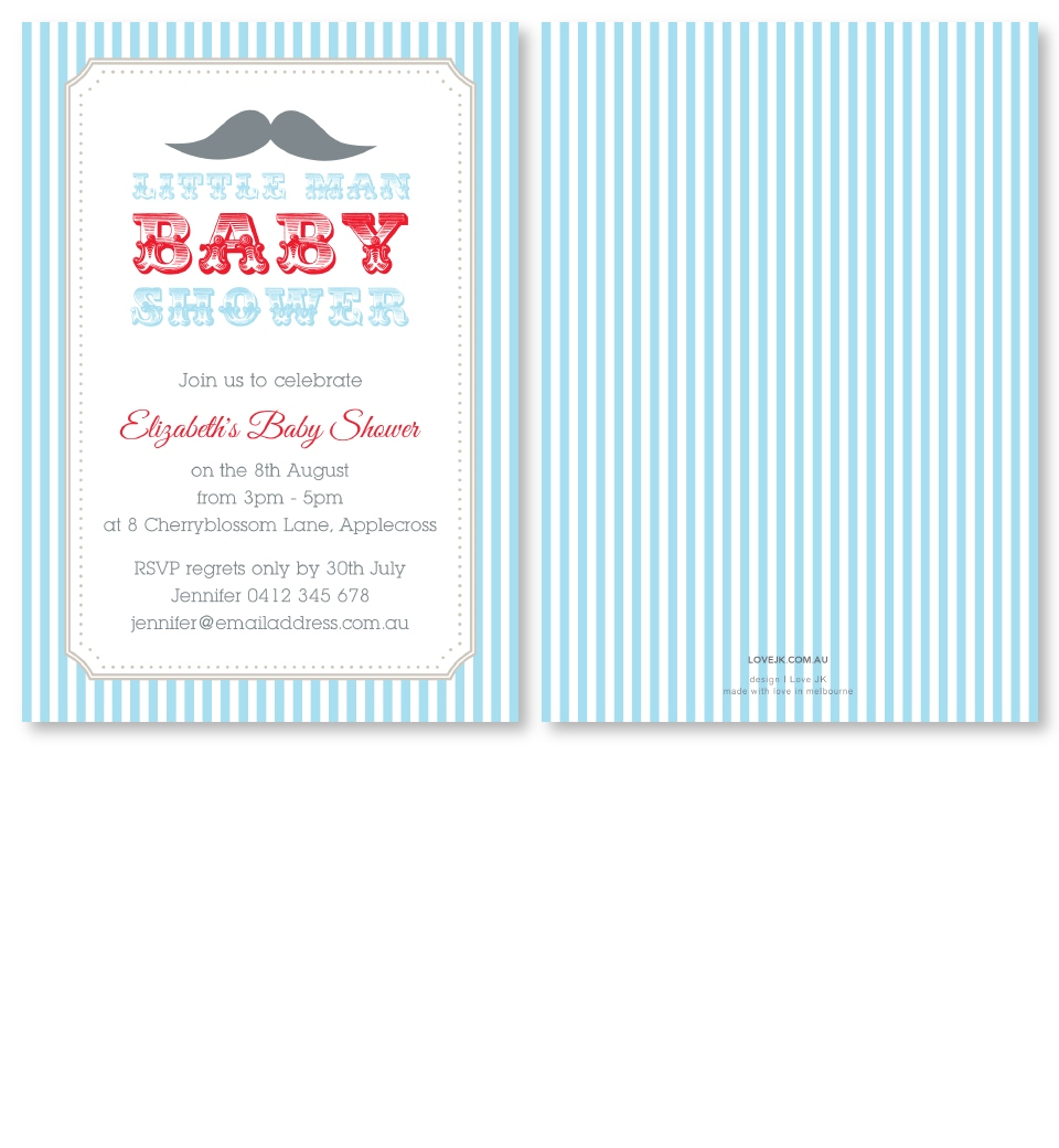 Little Man Baby Shower Invitation | Love JK