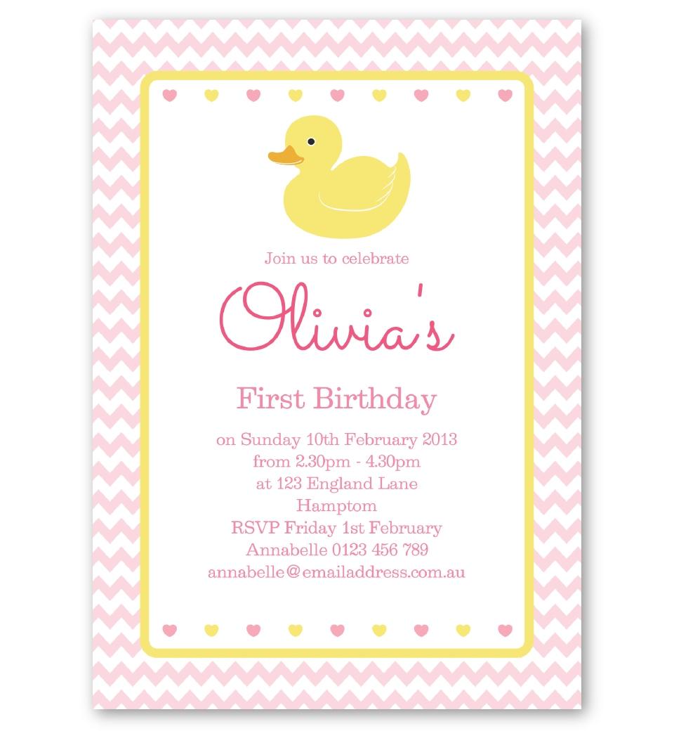 Pink rubber ducky birthday invitation love jk front filmwisefo